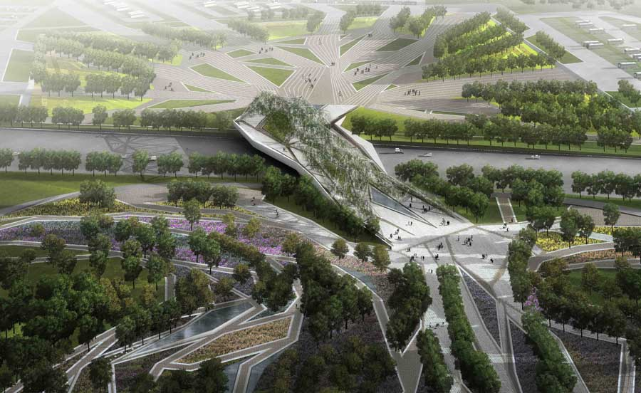 Flowing Gardens Xi An Building Plasma Studio China E