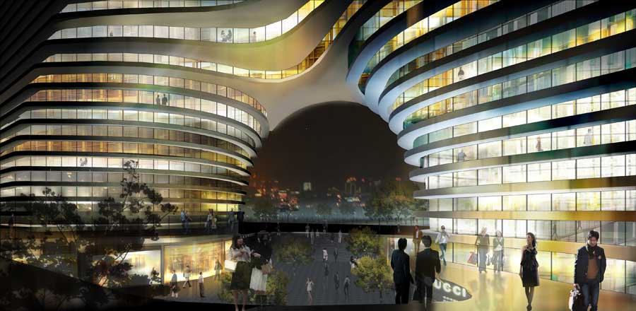 Hangzhou Gateway Building Chinese Tower Architecture E