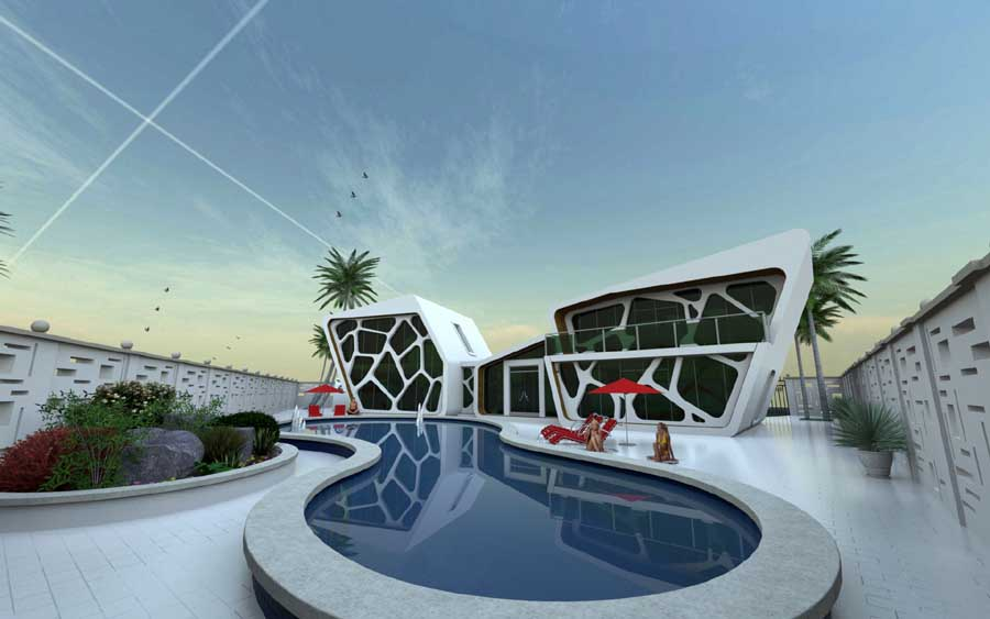 3d computer visualization architecture cgi e architect for Architecture villa design