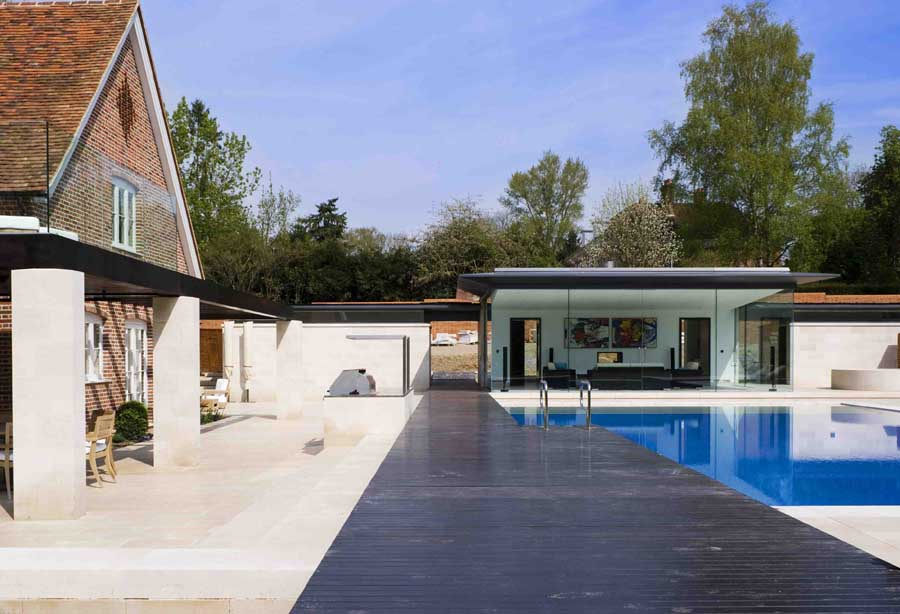 hampshire poolhouse building glass pool house e architect