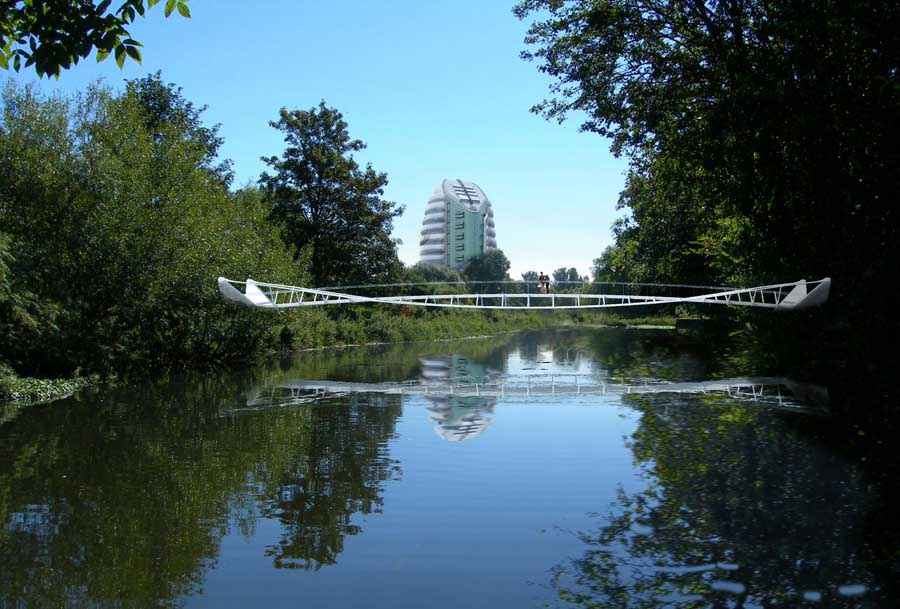 new foot and cycle bridge crossing the River Soar in Leicester