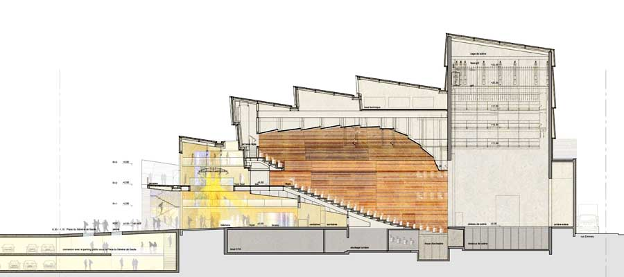 Bateau feu national theatre dunkerque theater e architect for Architecture and design home theater
