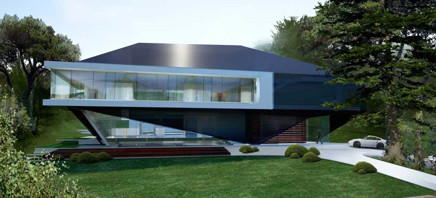 Hillside house german home by 3deluxe in exterior e for Modern house design on hillside