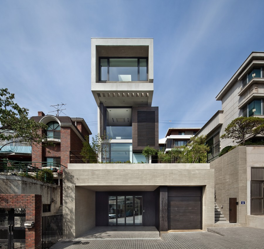 Front Elevation For Three Floor House : H house south korean residence e architect