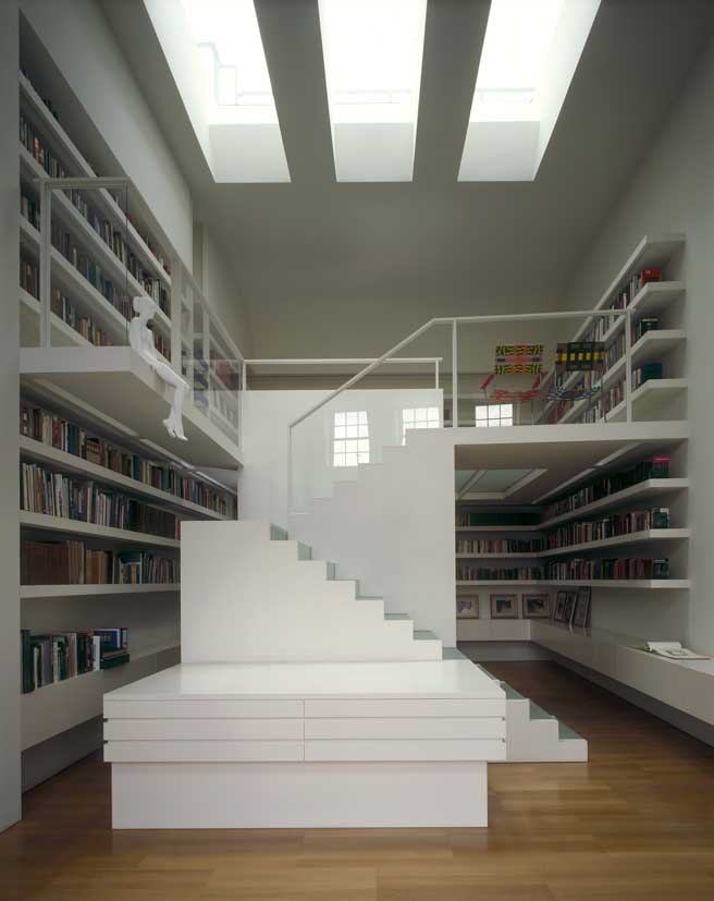 Private library london contemporary interior design e architect - British interior design style pragmatism comes first ...