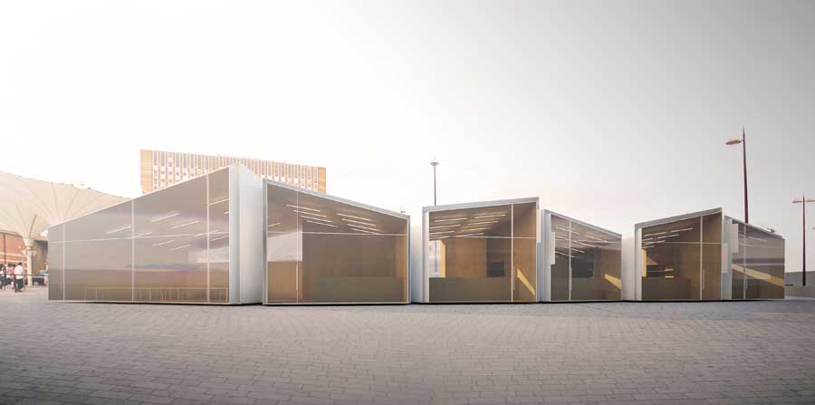 Stratford kiosks exhibition london competition e architect for Architecture kiosk design