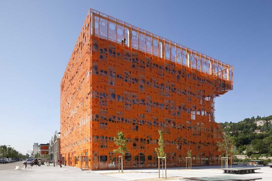 Orange cube lyon jakob macfarlane building e architect for Architecture lyon