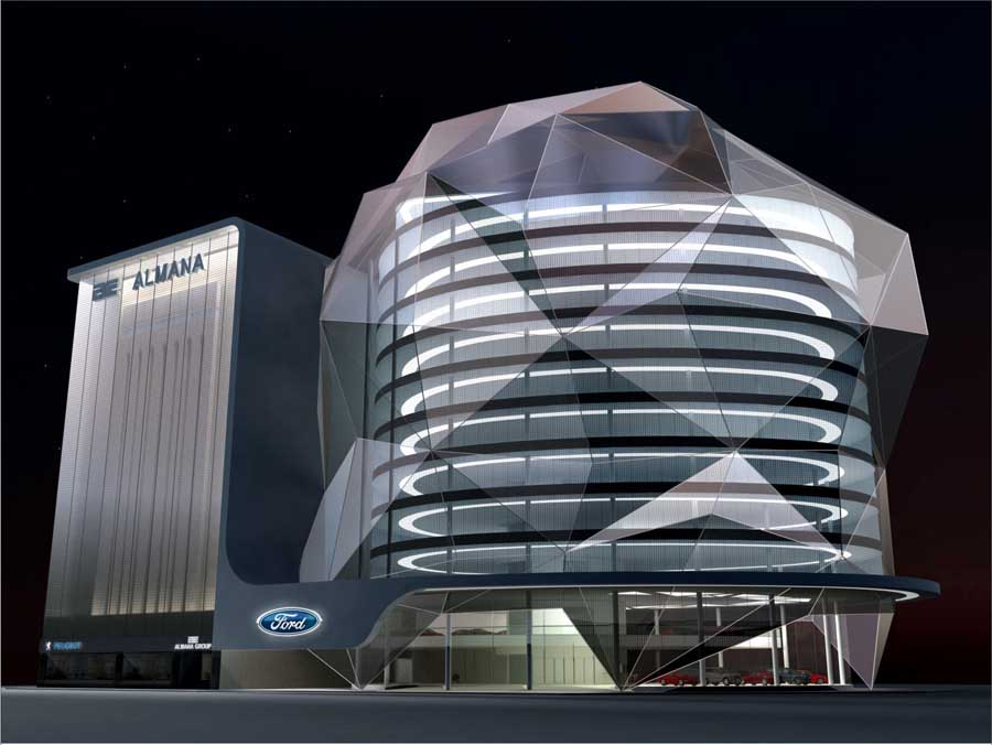 Exhibition Shell Uk : Qatar ford showroom doha building e architect