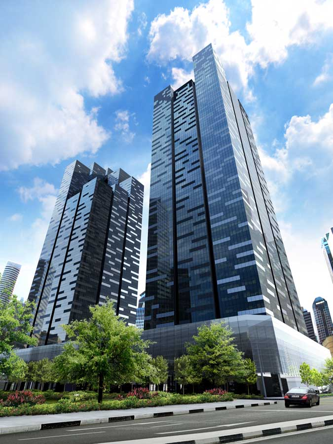 Asia square singapore marina bay building e architect for Tallest hotel in singapore