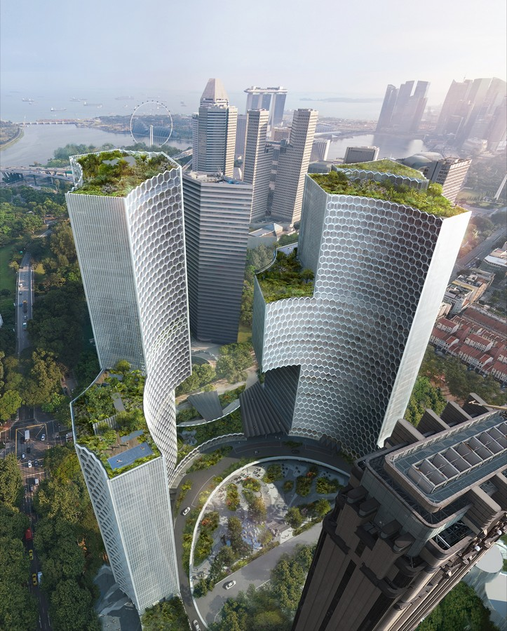 Twin towers duo singapore skyscraper buildings e architect for Top architects in singapore