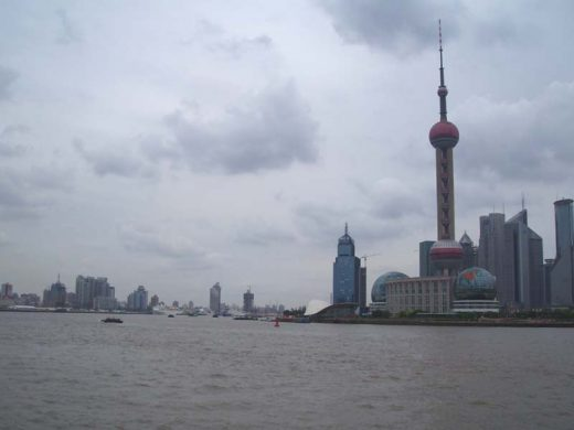 View from the Bund to Pudong district & Oriental Pearl TV Tower