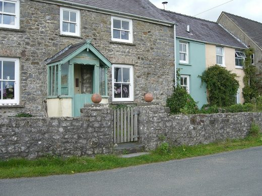 Lawrenny Housing Wales homes - cottage gate and stone wall