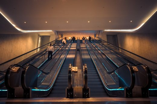 Brookfield Place Perth entrance escalators by Hassell and Fitzpatrick Architects
