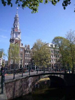 Amsterdam Churches buildings canal trees