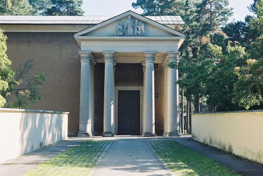 Chapel of Resurrection at the Woodland Cemetery in Stockholm, Sweden, design by Sigurd Lewerentz Architect