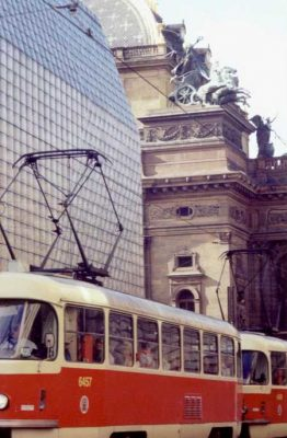 Prague Building with tram, Czech Architecture 1991