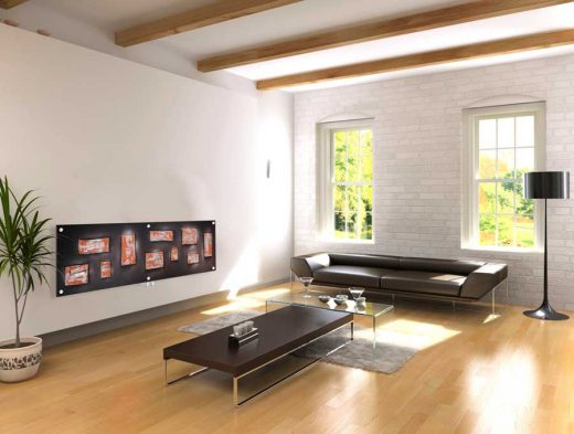 Art glass radiators living room interior