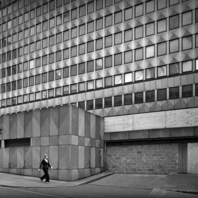 A concrete office block off the Strand in London