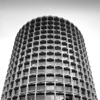 Office block in concrete near High Holborn in London