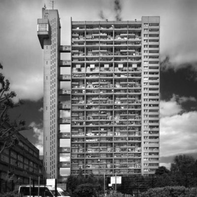 The Trellick Tower in London, an example of modernist, brutalist architecture, designed by Erno Goldfinger