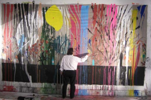 Will Alsop painting a mural