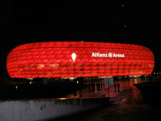 Allianz Arena lit in the colours of FC Bayern München