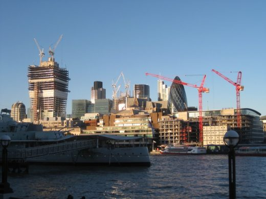Tall Buildings by the River Thames: Skyscrapers