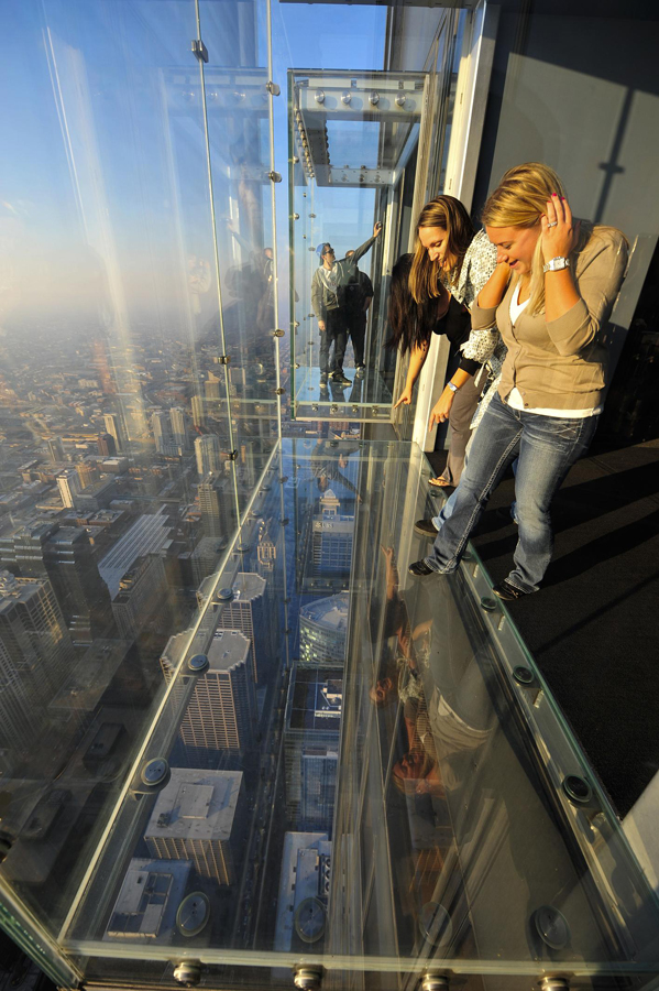 Willis Tower Glass balconies by Skydeck Chicago - e-architect