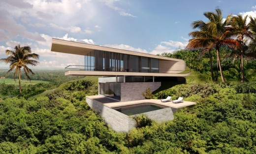 Bali house concept design e architect for House plans on hill slopes