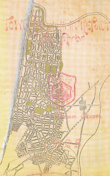 Courtesy of Wikipedia this is Patrick Geddes' original design for Tel Aviv 1925