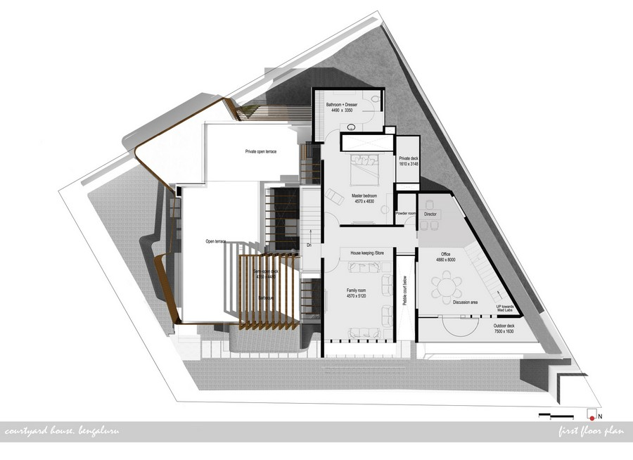 Courtyard house bangalore e architect for Architecture design house plans in india