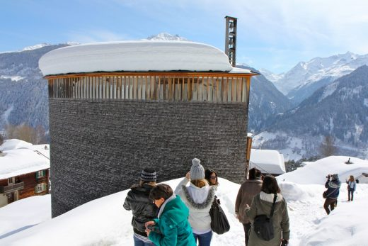 St Benedikt Chapel Building in Switzerland by architect Peter Zumthor
