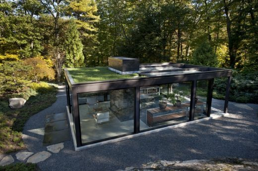 Glass House in the Garden in Massachusetts