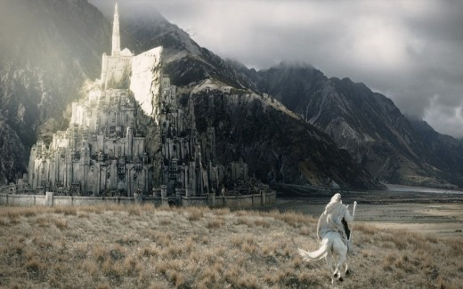 Gandalf galloping to Minas Tirith Lord of the Rings