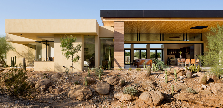 Desert wash paradise valley arizona house e architect for Building a house in arizona