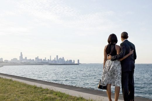 President Barack Obama and First Lady Michelle Obama look out at the city skyline