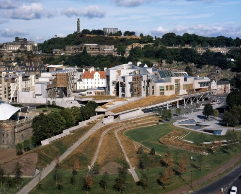 The Scottish Parliament building from Arthur's Seat