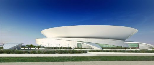 New Doha Tennis Stadium at Khalifa Sports Park by Arup Associates architects