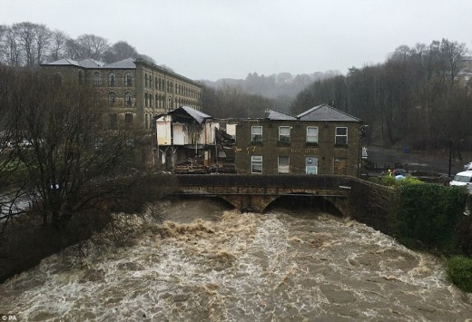 Northern English building over river damaged