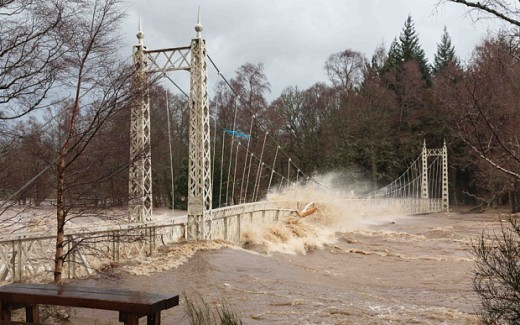 Royal Deeside Bridge flooding by River Dee