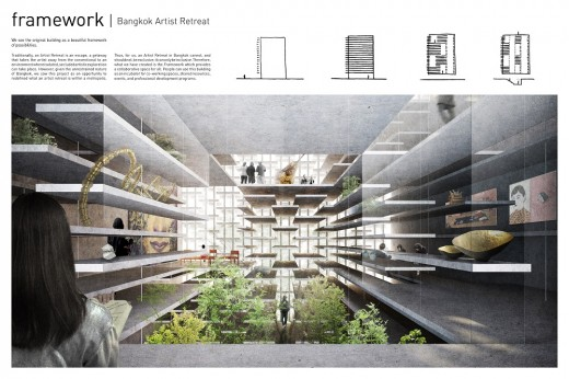 Bangkok Artists Retreat Design Competition 3rd place board