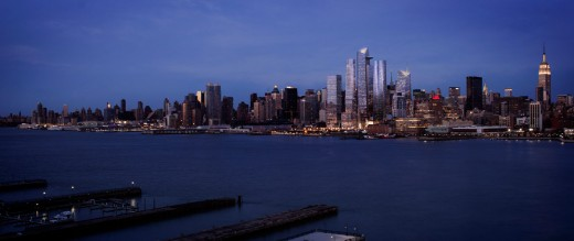 Evening View Of Hudson Yards, From The Hudson River