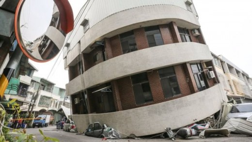 earthquake toppled building in the south Taiwanese city of Tainan