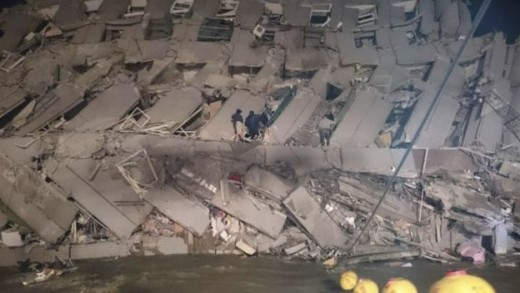 Tainan earthquake toppled building
