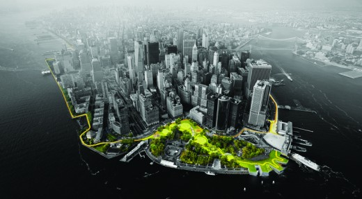 Lower Manhattan shoreline by AECOM, including BIG-Bjarke Ingels Group, ONE Architecture, Dewberry Engineers