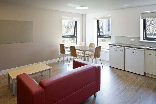 Juniper Court halls of residence Stirling University kitchen living room by Lewis & Hickey Architects