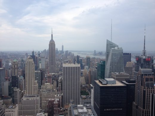 New York skyscrapers viewed from the top of the Rockefeller Center