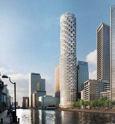 Rolling Pin tower at Canary Wharf design by make Architects
