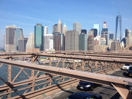 Brooklyn Bridge view to NYC Financial District