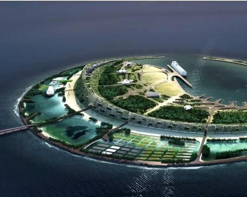 Nanhai Pearl Artificial Island in Haikou Bay